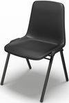 Event Series One Piece Polypropylene Stack Chair - Set of 4 - Black [6310SCBB-FS-MAY]