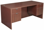 Legacy 66''W x 30''D Wooden Desk with Two Locking Pedestals - Mahogany [LDP6630MH-FS-REG]