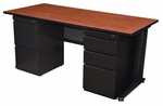 Fusion 66''W x 30''D Double Pedestal Laminate Desk with PVC Edge - Cherry [MDP6630CH-FS-REG]
