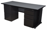 Fusion 66''W x 30''D Double Pedestal Laminate Desk with PVC Edge - Grey [MDP6630GY-FS-REG]
