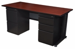 Fusion 66''W x 30''D Double Pedestal Laminate Desk with PVC Edge - Mahogany [MDP6630MH-FS-REG]