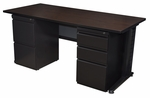 Fusion 66''W x 30''D Double Pedestal Laminate Desk with PVC Edge - Walnut [MDP6630MW-FS-REG]