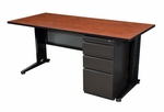 Fusion 66''W x 24''D Single Pedestal Laminate Desk with PVC Edge - Cherry [MSP6624CH-FS-REG]