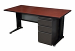 Fusion 66''W x 24''D Single Pedestal Laminate Desk with PVC Edge - Mahogany [MSP6624MH-FS-REG]