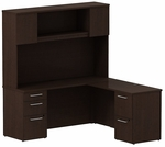 300 Series 66'' W x 22'' D Single Pedestal Desk File File in L-Configuration with Three Drawer Pedestal Box Box File - Mocha Cherry [300S062MR-FS-BBF]
