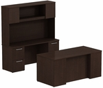 300 Series 66'' W x 30'' D Double Pedestal Desk - Mocha Cherry [300S048MR-FS-BBF]