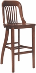 6891 Bar Stool w/ Slat Back & Wood Saddle Seat [6891-ACF]