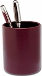 Classic Two Tone Leather Round Pencil Cup - Burgundy and Black [A7010-FS-DAC]