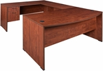 Sandia 71''W x 101''D Bow Front Laminate U-Desk with 2 Locking Box File Pedestal - Cherry [SUDBF713542CH-FS-REG]