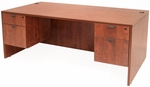 Legacy 71''W x 30''D Wooden Desk with Two Locking Pedestals - Cherry [LDP7135CH-FS-REG]