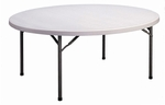 Round Economy Blow-Molded Plastic Folding Table - 71'' Diameter [CP72-33-CRL]