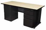 Fusion 72''W x 30''D Double Pedestal Laminate Desk with PVC Edge - Beige [MDP7230BE-FS-REG]