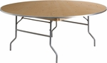 72'' Round HEAVY DUTY Birchwood Folding Banquet Table with METAL Edges [XA-72-BIRCH-M-GG]