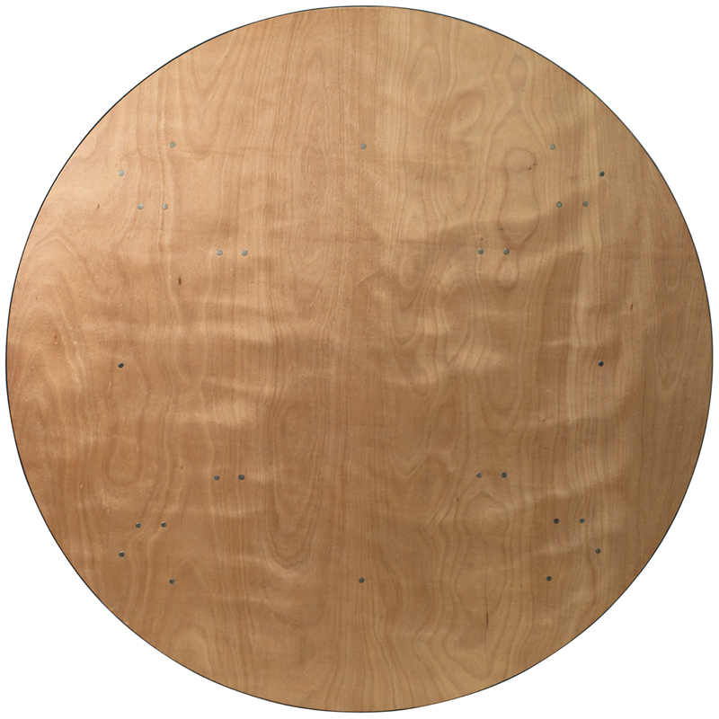 72'' Round Wood Folding Banquet Table With Clear Coated