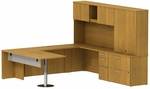300 Series 72'' W x 30'' D Peninsula Desk in U-Configuration with Three Drawer Pedestal Box Box File - Modern Cherry [300S070MC-FS-BBF]