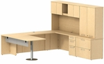 300 Series 72'' W x 30'' D Peninsula Desk in U-Configuration with Three Drawer Pedestal Box Box File - Natural Maple [300S070AC-FS-BBF]
