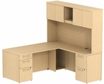 300 Series 72'' W x 30'' D Single Pedestal Desk Box Box File in L-Configuration with Two Drawer Pedestal File File - Natural Maple [300S050AC-FS-BBF]