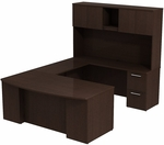 300 Series 72'' W x 36'' D Bow Front Desk in U-Configuration - Mocha Cherry [300S041MR-FS-BBF]