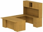 300 Series 72'' W x 36'' D Desk in U-Configuration with Three Drawer Pedestal Box Box File - Modern Cherry [300S054MC-FS-BBF]