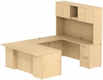 300 Series 72'' W x 36'' D Desk in U-Configuration with Three Drawer Pedestal Box Box File - Natural Maple [300S054AC-FS-BBF]