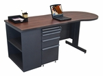 Zapf® 75'' W x 29'' H Teachers Conference Desk with Bookcase - Dark Neutral Finish [ZTCB7530-DT-FM-FS-MVL]