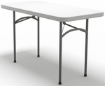 7700 Series 48'' W x 24''D Rectangular Folding Table - Textured White with Dark Gray Frame [772448DGWT-FS-MAY]