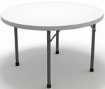 7700 Series 48'' Diameter Round Folding Table - Textured White with Dark Gray Frame [770048DGWT-FS-MAY]