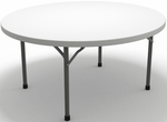 7700 Series 72'' Diameter Round Folding Table - Textured White with Dark Gray Frame [770072DGWT-FS-MAY]