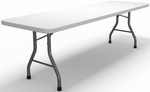7700 Series 96'' x 30'' D Rectangular Folding Table - Textured White with Dark Gray Frame [773096DGWT-FS-MAY]