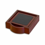 8000 Series Wood and Leather - 4 Coaster Set With Holder [A8045-FS-DAC]