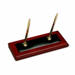 8000 Series Wood and Leather - Double Pen Stand [A8004-FS-DAC]