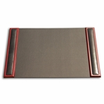 8000 Series Wood and Leather Rosewood Side-Rail Desk Pad [P8002-FS-DAC]