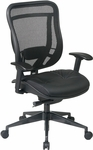 Space 818MX Series Deluxe 2-to-1 Synchro Tilt Control Chair with Leather Seat - Black [818-41G9C18P-FS-OS]