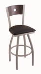 Voltaire 25'' Anodized Nickel Finish Swivel Counter Height Stool with Dark Cherry Maple Wood Back and Black Vinyl Seat [83025ANDCMPLBBLKVINYL-FS-HOB]