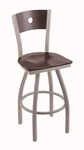 Voltaire 25'' Anodized Nickel Finish Swivel Counter Height Stool with Dark Cherry Maple Wood Back and Seat [83025ANDCMPLBDCMPL-FS-HOB]
