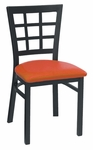 Window Back Metal Dining Chair - Grade 4 Vinyl [85-GR4-SAT]