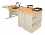 Zapf® 87'' W x 29'' H Teachers Conference Desk with Bookcase - Pumice Finish [ZTCB8730-UT-SO-FS-MVL]