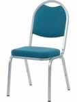 8900 Series Stack Chair with Round Back and Crown Seat in Sedona Ocean Fabric and Silver Mist Frame - 18''W x 22''D x 35.5''H [8915-BLU205-GRY02-VCO]
