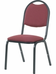 8900 Series Stack Chair with Round Back and Dome Seat in Sedona Ruby Fabric and Char Black Frame [8917-RED201-BLK01-VCO]