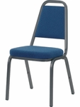 8900 Series Stack Chair with Trapezoid Back and Crown Seat in Sedona Sailor Fabric and Char Black Frame [8925-BLU204-BLK01-VCO]