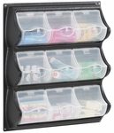 18.50'' W x 5.25'' D x 20.50'' H Nine Pocket Panel Bins with Spring Loaded Covers - Black and Clear [6110BL-FS-SAF]