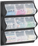 18.5'' W x 5.25'' D x 20.5'' H Nine Pocket Panel Bins with Spring Loaded Covers - Black and Clear [6110BL-FS-SAF]