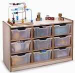 9 Tray Storage Cabinet with 9 Clear Storage Trays and Casters [WB0909T-FS-WBR]