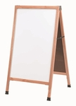 A-Frame - Sidewalk White Melamine Marker Board with Solid Red Oak Frame - 42''H x 24''W [A-5-AA]