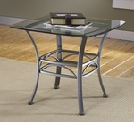 Abbington Metal and Glass 26''W x 21.5''H Square End Table - Dark Pewter [4885OTE-FS-HILL]