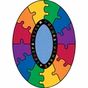 ABC Rainbow Puzzle Oval Cut Pile Rug