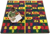 Rectangular ABC123'S Style Educational Nylon Rug