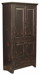 Abraham Rustic Style 14.5''W x 12.75''D Solid Pine Pantry - Black Over Red [465-004-FS-CHEL]