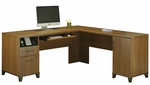 Achieve L-shaped Computer Desk With File Drawer in Warm Oak Finish [PR67310K-FS-BHF]