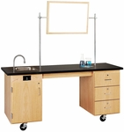 ADA Compatible Mobile Science Lab Station with 1.25'' Thick Black ChemGuard Top - 72''W x 24''D x 33''H [4352K-DW]
